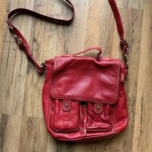 100% leather red crossbody Sak bag